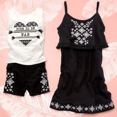 Girls' fashion   Kids' clothes   Matching outfits   Fringe dress   Embellished tank top   Embroidered shorts   Vacation outfit   The Children's Place