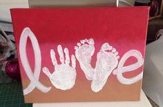 Love Handprint and Footprint canvas for easy gift idea