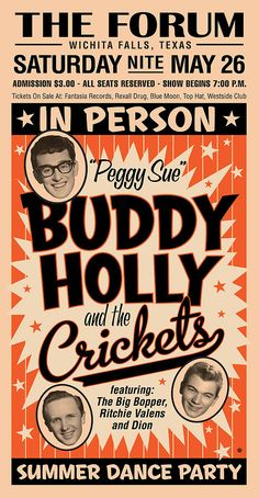 Buddy Holly by Gary Grayson Vintage Concert Posters, Vintage Posters, 1950s Posters, Ritchie Valens, Rockabilly Art, Tour Posters, Theatre Posters, Buddy Holly, Rockn Roll