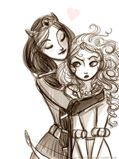 Pixar Drawing Merida and her Mother from the movie Brave by Arbetta - Deco Disney, Arte Disney, Disney Magic, Disney And Dreamworks, Disney Pixar, Disney Characters, Merida Disney, Disney Princesses, Disney Concept Art