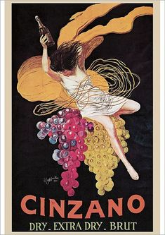 here-cums-trubble: Leonetto Capiello's 1920 Poster for Cinzano . ( he also did the famous green devil poster for Maurin Quina and the red lady for Absinthe DuCros Fils — see my archive ) Vintage French Posters, Italian Posters, Poster Vintage, Vintage Wine, Vintage Ads, Vintage Italian, Wein Poster, Illustrations, Illustration Art