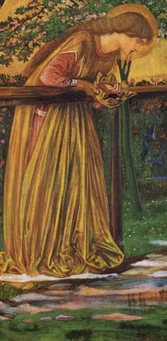 """""""The blessed damozel leaned out From the gold bar of Heaven; ...She had three lilies in her hand, And the stars in her hair were seven."""" (The Blessed Damozel"""", Dante Gabriel Rosesetti). Painting inspired by this poem by Sir Edward Burne-Jones."""
