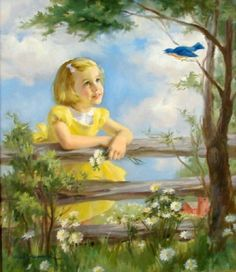 Girl in Yellow Dress Watching a Bluebird por naturepoet en Etsy, $4.00