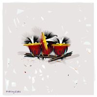 Giclee Canvas Wall Art 12 x 12 Set Cortesi Home Cocktail Birds Series Diptych by Chuck Wimmer