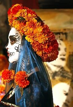 Beautiful marigolds. [ MexicanConnexionForTile.com ] #DayoftheDead #Talavera #handmade