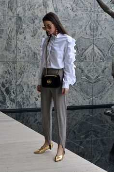 Ruffled Top by H&M (Similar) // Pants by H&M // Bag by Gucci // Shoes by H&M