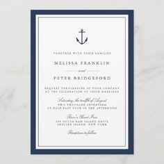 Nautical Wedding Invitations, Classic Wedding Invitations, Wedding Invitation Wording, Custom Invitations, Anchor Monogram, Navy Anchor, Script Lettering, Wedding Sets, Dream Wedding