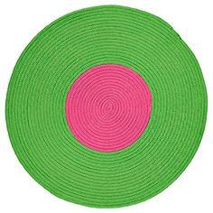 IKEA Teppich STICKAT rund Flechtteppich in 3 Farben (grün-pink)