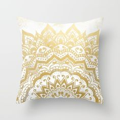 GOLD ORION JEWEL MANDALA Throw Pillow