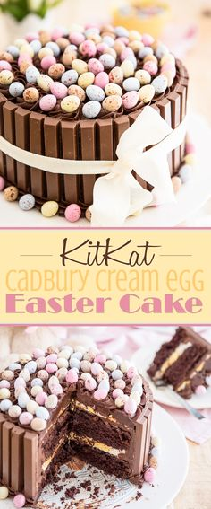 KitKat Cadbury Cream Egg Easter Cake This KitKat cake screams easter: chocolate overload with a gooey Cadbury Cream Egg center, mini eggs all over its top: it'll make you a hero this Easter! - Easter KitKat Cake with Cadbury Cream Egg Filling Food Cakes, Cupcake Cakes, Desserts Ostern, Creamed Eggs, Easter Treats, Easter Food, Easter Cake Mini Eggs, Cakes For Easter, Easter Baking Ideas