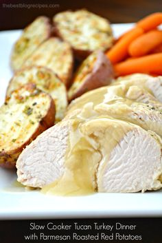 This Slow Cooker Tuscan Turkey Dinner for Two w/ Parmesan Roasted Red Potatoes is a simple and delicious way to enjoy dinner without all of the fuss!