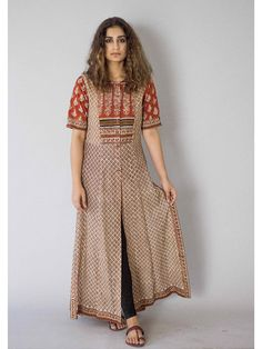 Description: It is a cotton block printed tunic with front button down. Length is Size Chart - XS - Chest : Waist : Hip : Shoulder : Armh Churidar Designs, Kurta Designs Women, Blouse Designs, Kurta Patterns, Dress Patterns, Indian Attire, Indian Wear, Indian Dresses, Indian Outfits