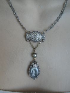 Antique Victorian pot metal and paste, Renaissance Madonna, repurposed necklace, one of a kind, upcycled, rosary bead, artisan made