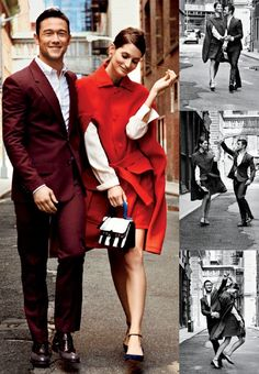 "Joseph Gordon-Levitt with model Suzanne Diaz in a photo shoot for ""Glamour"" magazine sept 2012......"