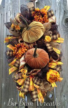 Fall Wreath Fall Swag Autumn Swag Autumn Wreath by BaBamWreaths