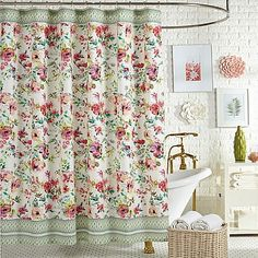 The elegant Watercolor Garden Shower Curtain from Jessica Simpson transforms your bath into a charming sanctuary. Crafted in cotton, this beautiful curtain features an enchanting floral design in a soothing palette of tonal pinks. Curtains, Yellow Bathrooms, Yellow Bathroom Decor, Bed Bath And Beyond, Cute Shower Curtains, Brushed Nickel Bathroom Accessories, Garden Shower, Bathroom Decor, Shower Curtain