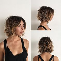 This Sexy Layered Bob with Curtain Bangs and Undone Wavy Texture with Balayage is a great modern haircut for someone seeking a hip, trendy style that offers versatility. This short bob can be worn polished or messy, by adding textured waves and volume. It's a great style to easily help you flow from work to play. The caramel balayage highlights gives this look a sexy modern twist, and enhances the textured appearance. Styling tips for this short bob and other similar short ha