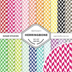 Herringbone 20 Piece Digital Scrapbook Paper Mega by sugarstudios $3.99