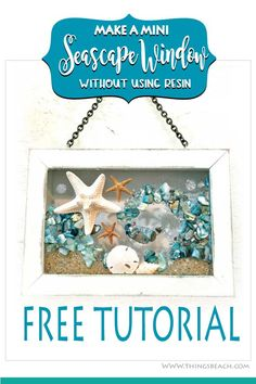 Make this beachy DIY Shell Decor Seascape Window! Diy Resin Art, Diy Resin Crafts, Sea Glass Crafts, Shell Crafts, Ocean Theme Decorations, Window Art, Beach Crafts, Mosaic Art, Mosaics