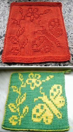 Free Knitting Pattern for Butterfly Cloth Knitted Washcloth Patterns, Knitted Washcloths, Dishcloth Knitting Patterns, Knit Dishcloth, Free Knitting, Crochet Patterns, Knitting Squares, Knit Purl Stitches, Diy Knitting Projects