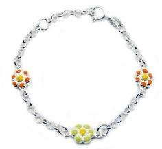Baby and Children's Bracelets:   Italian-made Sterling Silver, Hand Enameled Flower Bracelets $49.15