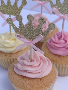 Pink and Gold Glitter Crown Cupcake Toppers, Gold Birthday Cake Toppers, Princess Cake Toppers, Party Cupcake Toppers Gold Birthday Cake, Baby First Birthday, Birthday Cake Toppers, Birthday Cupcakes, First Birthday Parties, Girl Birthday, First Birthdays, Crown Cupcake Toppers, Crown Cupcakes