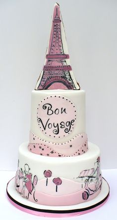 Pastel con motivos de Paris para los amantes de la ciudad luz.