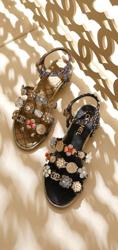 Jewels. Tweed sandals enmellished with... - CHANEL