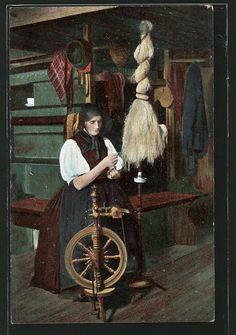 CPA Eine Frau sitzt an einem Spinnrad