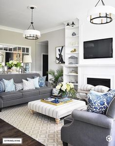 New Living Room Inspiration Grey Couch Home Tours Ideas Coastal Living Rooms, Living Room White, White Rooms, Living Room Colors, Living Room Paint, Small Living Rooms, New Living Room, Living Room Modern, Living Room Designs