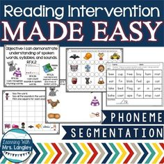 """Finally, reading intervention MADE EASY! Phoneme Segmentation is an essential early literacy skill and one of our first focuses in our kindergarten classroom.  This unit is focused on phoneme segmentation. Any of my students that have not mastered this skill are in my """"low"""" group and I meet with them daily with these materials. They are hands on, engaging, consistent, and fun!"""