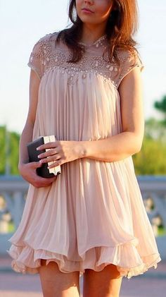 Beads Embellished Pleated Dolly Dress in Nude Pink Lemay Lemay De Groof Dolly Dress, Short Dresses, Formal Dresses, Mode Style, Girly Girl, Dress Me Up, Chiffon Dress, Dress To Impress, Beautiful Dresses