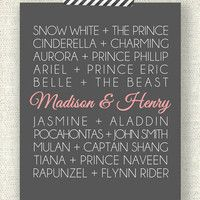 """DISNEY PRINCESS COUPLES - 11"""" x 14"""" Custom Designed Wall Art - Disney Princess and their Princes with your names added in"""