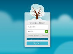 Beautiful login design found on Dribbble. Love the winter color scheme. Brrr.... Login