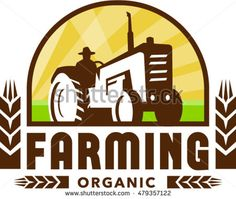 Illustration of a farmer driving vintage tractor viewed from low angle set inside crest with wheat and the words text Farming Organic done in retro style. #organicfarming #retro #illustration