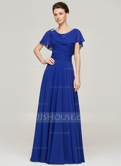 A-Line/Princess Scoop Neck Floor-Length Ruffle Beading Sequins Zipper Up Sleeves Short Sleeves No 2015 Royal Blue Spring Summer Fall General Plus Chiffon Mother of the Bride Dress Wedding Party Dresses, Bridesmaid Dresses, Bride Dresses, Pretty Dresses, Beautiful Dresses, Vestidos Mob, Ruffle Beading, Mom Dress, Floor Length Dresses