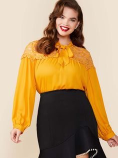 Plus Tie Neck Guipure Lace Yoke Top