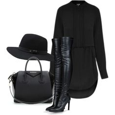 Zeitlose Schwarz-Weiß-Outfits – All Black Outfits – # Timeless Black and White Outfits – All Black Outfits – # All Black Outfits For Women, Black And White Outfit, Black Women Fashion, Look Fashion, Womens Fashion, All Black Style, Fall Fashion, Black Boots, Dress Black