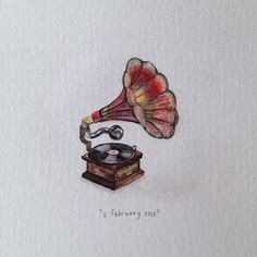 Day 33 : Gramophone - tiny watercolour | 365 Paintings For Ants / Lorraine Loots