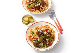The ingredients for these tender meatballs include some cookout classics, like ground beef, ketchup, pickles and hamburger buns to make Burger Spaghetti.