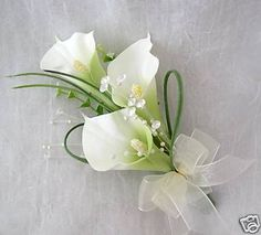 White calla lily wrist corsage without the jewels