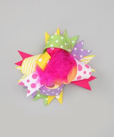 Take a look at this Hot Pink & Yellow Polka Dot Clip by Under The Hooded Towels on #zulily today!