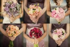 Coordinating bouquets for mix and match bridesmaids