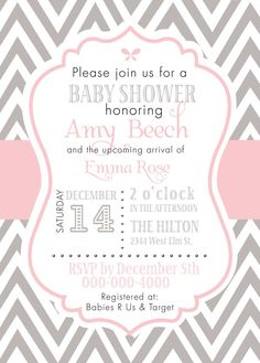 Custom Pink & Gray Baby Girl Chevron Invitation