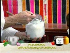 Pie de banana con crema pastelera y chocolate    http://elgourmet.com/receta/14889-pie_de_banana_con_crema_pastelera_y_chocolate