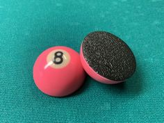 """$5.50 Pocket Marker (Pink 8 ball) - Small half ball (1.5"""") with rubber base *Mark Your Pocket In Style *Made from resin pool balls - small 1.5"""" *Rubber Bottom *Small, Fits anywhere in your cue case"""