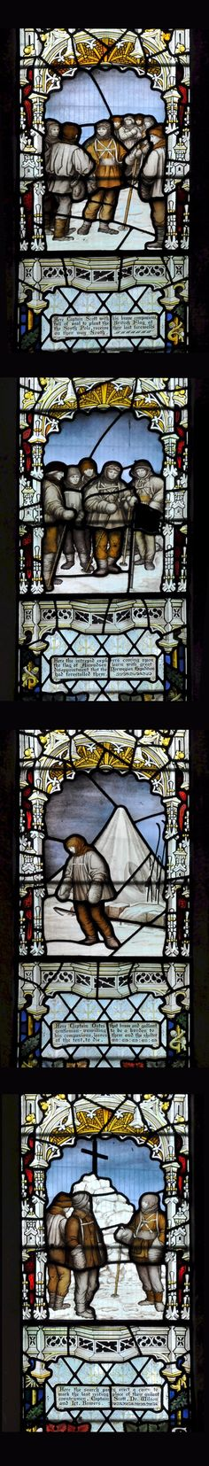 Sentimental stained glass panels to celebrate gallant British heros: Scenes - Departure to South Pole, South Pole disappointment, Oates leaving tent, and cairn of Scott, Wilson and Bowers. Binton Church, Warwickshire. Photos: Philip Halling Glass: Kempe