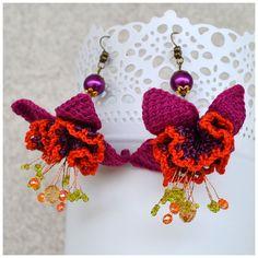 elegant fuchsia dangle earrings,ooak crochet pink purple orange earrings,statement violet flower dangles,crochet jewelery,statement marsala
