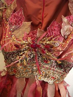 Decorated bodice (silk leaves with gold embroidery thread )
