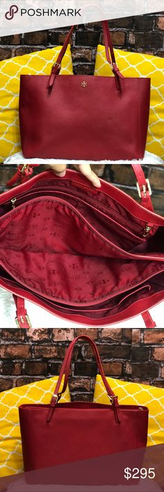 """🌸OFFERS?🌸Tory Burch All Leather Large Red Tote 🌷Authentic🌷Great condition. Minimal sign of use on leather. All parts intact and functional. Features top handle, 3 main conpartments center zip padded, 5 pockets, keyfob and gorgeous gold hardware. Offers a large amount of space. Great for work/school/travel, laptop bag, mommy bag or everyday purse. Carry it by hand/arm or shoulder. Don't be shy to make an offer💕Dimensions: L18"""" H11"""" Bottom Width6"""" Handle Drop10"""" ✨Feel free to bundle with…"""